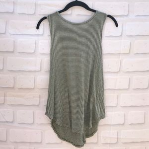 AEO Forest Green & White Striped Tank w/ Open Back